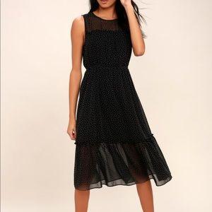 Sleeveless printed black dress